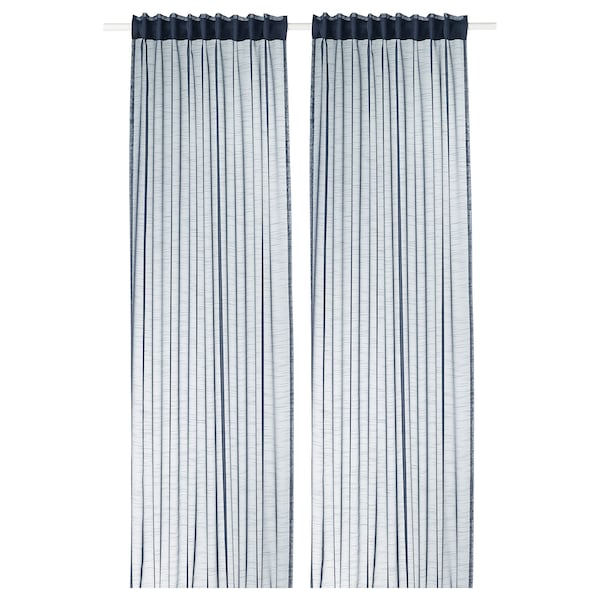GJERTRUD Sheer curtains, 1 pair, dark blue, 145x300 cm