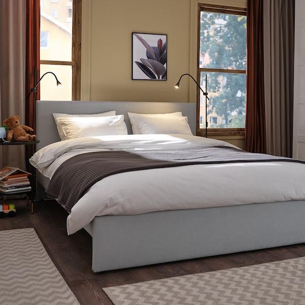 GLADSTAD Upholstered bed frame, Kabusa light grey, 140x200 cm