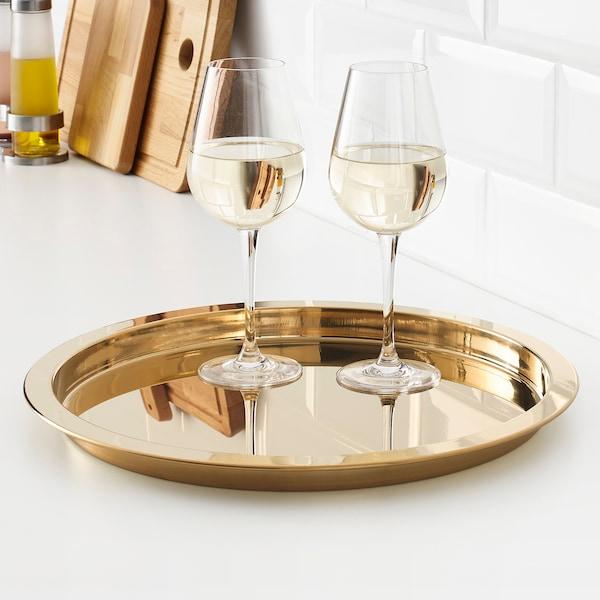 GLATTIS Tray, brass-colour, 38 cm