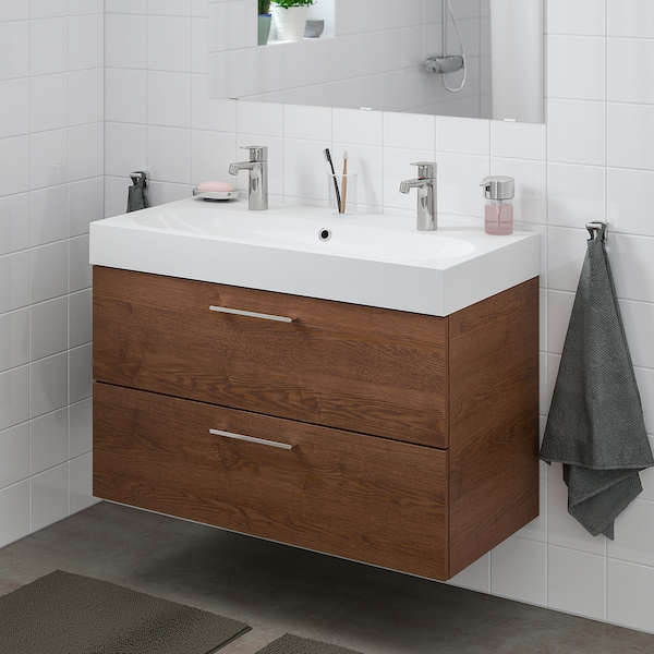GODMORGON / BRÅVIKEN Wash-stand with 2 drawers, brown stained ash effect/Brogrund tap, 100x48x68 cm