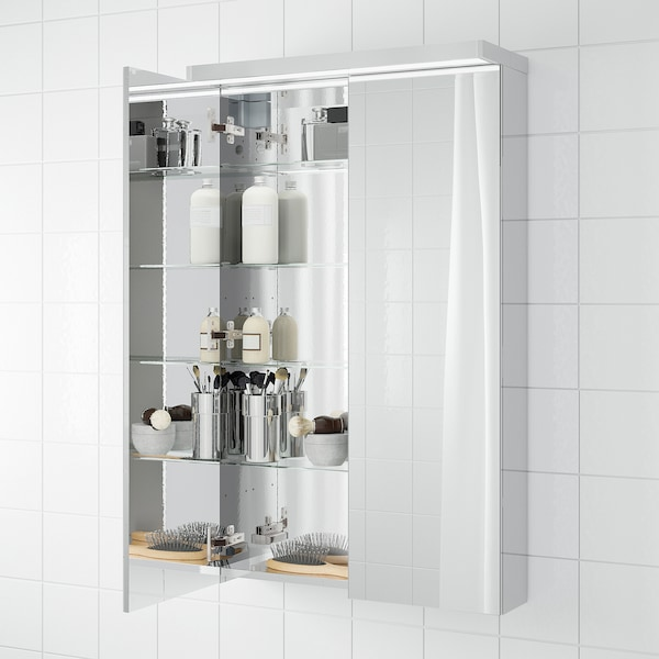 GODMORGON Mirror cabinet with 2 doors, mirror glass, 60x14x96 cm