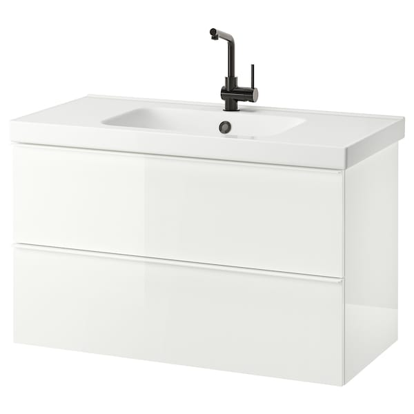 GODMORGON / ODENSVIK Wash-stand with 2 drawers, high-gloss white/LUNDSKÄR tap, 103x49x64 cm