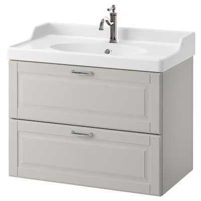 GODMORGON / RÄTTVIKEN Wash-stand with 2 drawers, Kasjön light grey/Hamnskär tap, 82x49x68 cm