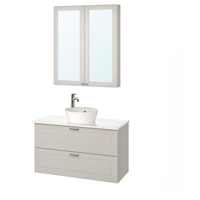 GODMORGON/TOLKEN / KATTEVIK Bathroom furniture, set of 5, Kasjön light grey/marble effect Voxnan tap, 102 cm
