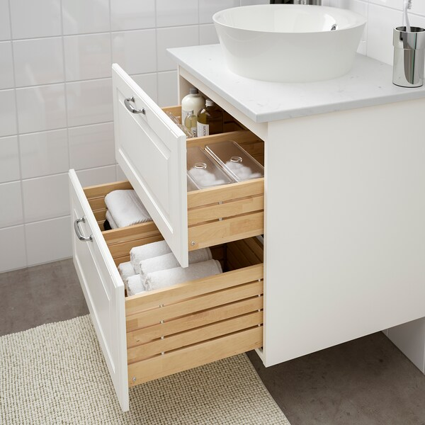 GODMORGON/TOLKEN / KATTEVIK Wsh-stnd w countertop 40 wash-basin, Kasjön white/marble effect Voxnan tap, 62x49x75 cm