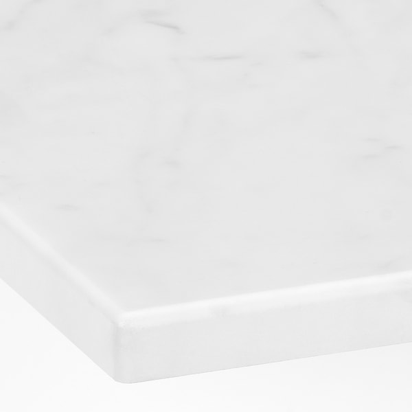 GODMORGON / TOLKEN Wash-stand with 2 drawers, brown stained ash effect/marble effect, 82x49x60 cm