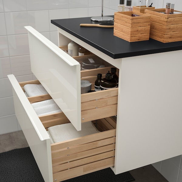 GODMORGON / TOLKEN Wash-stand with 2 drawers, high-gloss white/anthracite, 82x49x60 cm