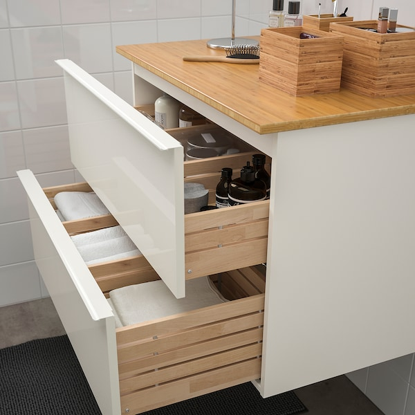GODMORGON / TOLKEN Wash-stand with 2 drawers, high-gloss white/bamboo, 82x49x60 cm