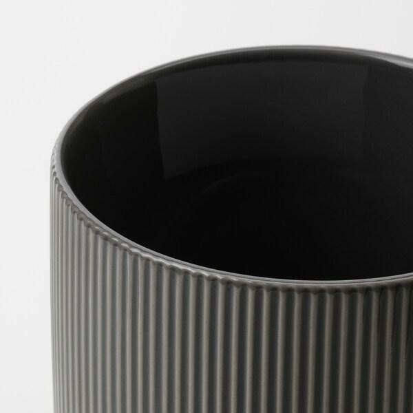 GRADVIS Plant pot, in/outdoor dark grey, 12 cm
