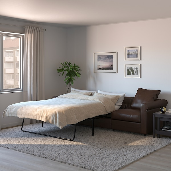 GRÖNLID 3-seat sofa-bed, Kimstad dark brown