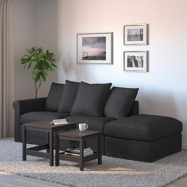 GRÖNLID 3-seat sofa-bed, with open end/Sporda dark grey