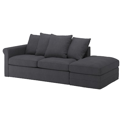 GRÖNLID 3-seat sofa-bed, with open end/Sporda dark grey