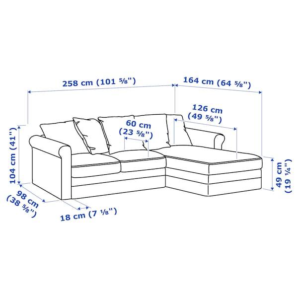 GRÖNLID كنبة 3 مقاعد, مع أريكة طويلة/Sporda رمادي غامق