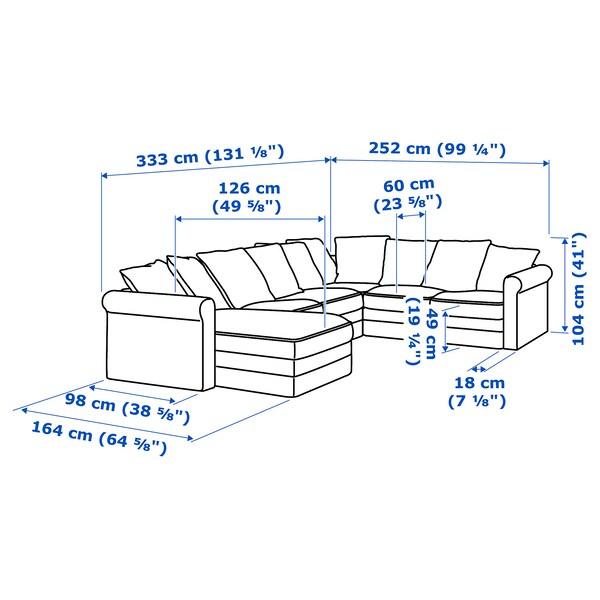 GRÖNLID كنبة زاوية، 5 مقاعد, مع أريكة طويلة/Sporda لون طبيعي