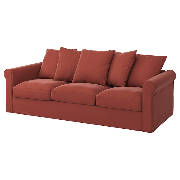 GRÖNLID Cover for 3-seat sofa, Ljungen light red