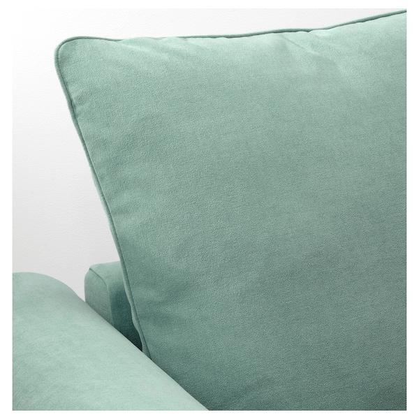 GRÖNLID Crnr sofa-bed, 5-seat w chaise lng, Ljungen light green