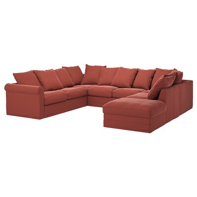 GRÖNLID U-shaped sofa, 6 seat, with open end/Ljungen light red