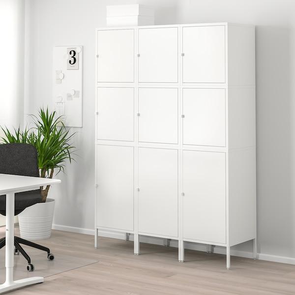 HÄLLAN تشكيلة تخزين مع أبواب, أبيض, 135x47x192 سم