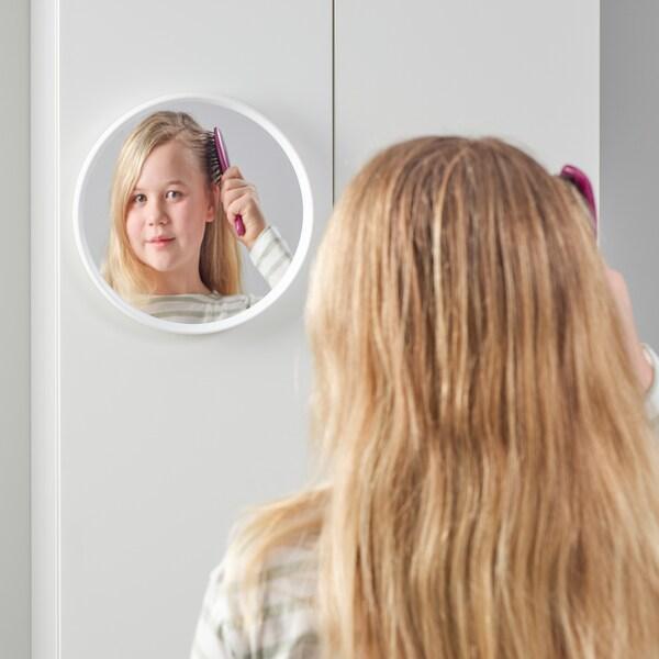 HÄNGIG Mirror, white/round, 26 cm
