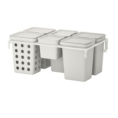 HÅLLBAR حل فرز النفايات, لدرج مطبخ METOD مع تهوية/رمادي فاتح, 53 ل