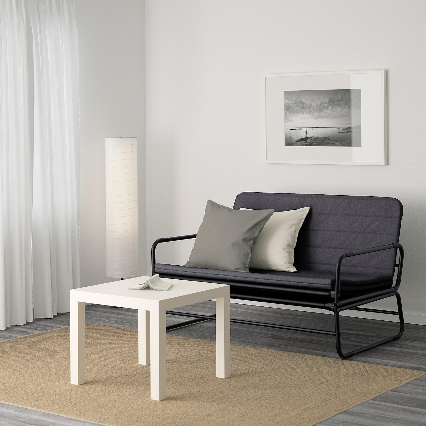 HAMMARN Sofa-bed, Knisa dark grey/black, 120 cm