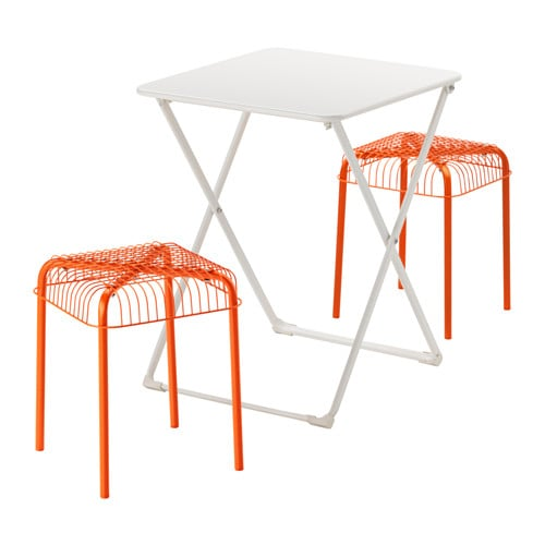 HÄRÖ / VÄSTERÖN Table And 2 Stools, Outdoor, White, Orange White/orange