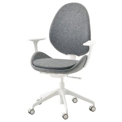 HATTEFJÄLL كرسي مكتب بمساند ذراعين, Gunnared رمادي معتدل/أبيض