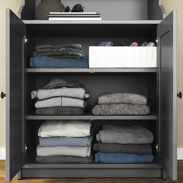 HAUGA Storage combination, grey, 139x46x116 cm