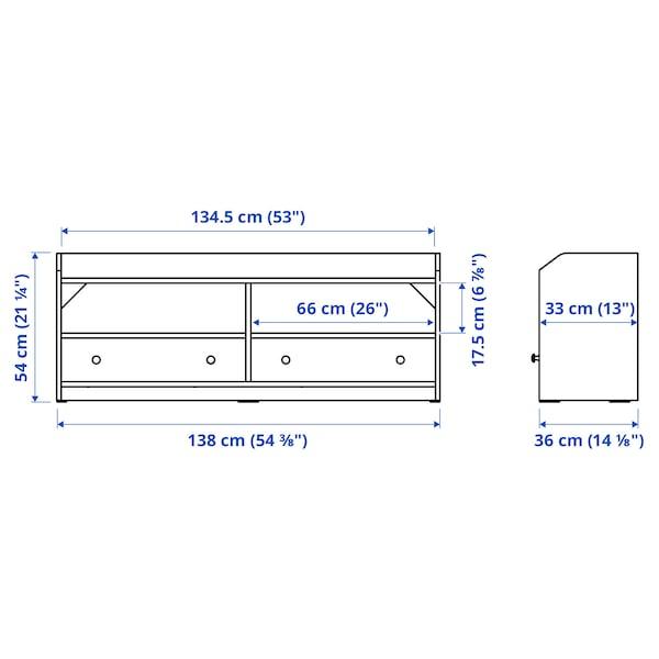 HAUGA TV bench, grey, 138x36x54 cm