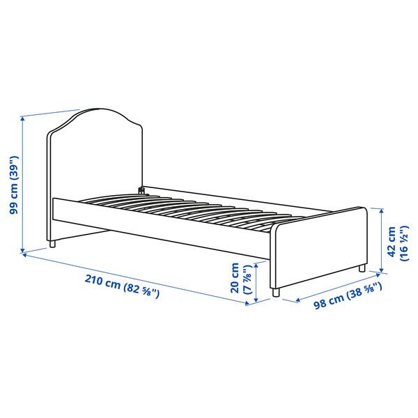 HAUGA هيكل سرير بتنجيد, Vissle رمادي, 90x200 سم