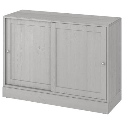HAVSTA Cabinet with plinth, grey, 121x47x89 cm