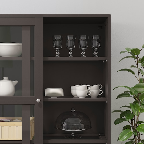 HAVSTA Storage comb w sliding glass doors, dark brown, 243x47x212 cm