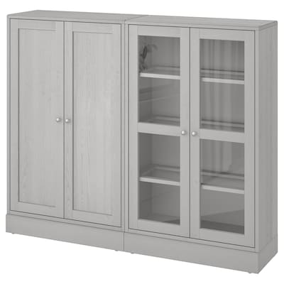 HAVSTA Storage combination w glass-doors, grey, 162x37x134 cm