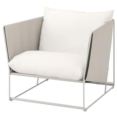 HAVSTEN كرسي ذو ذراعين، داخلي/خارجي, بيج, 98x94x90 سم