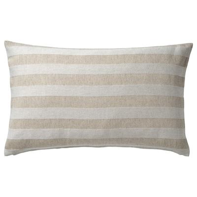 HEDDAMARIA Cushion cover, natural/striped, 40x65 cm