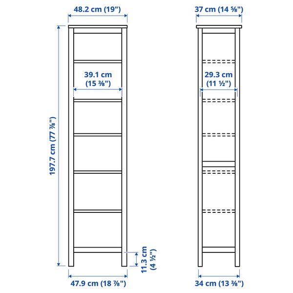 HEMNES Bookcase, black-brown, 49x197 cm