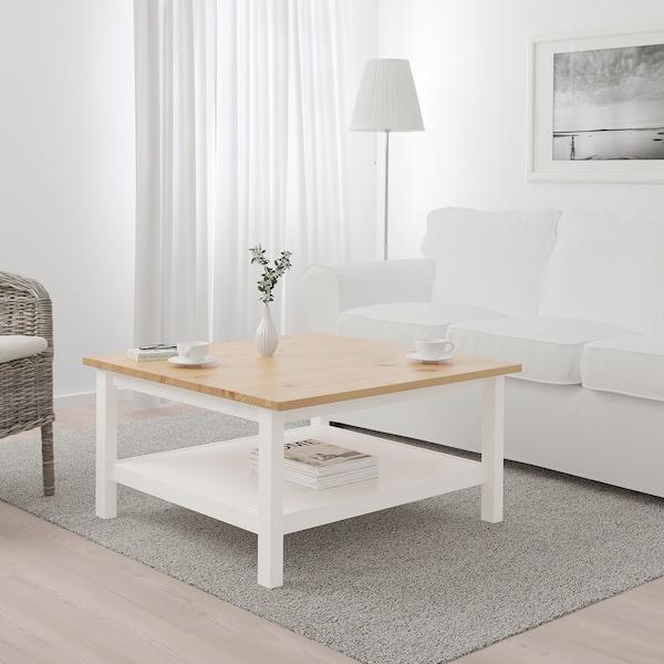 HEMNES طاولة قهوة, صباغ أبيض/بني فاتح, 90x90 سم