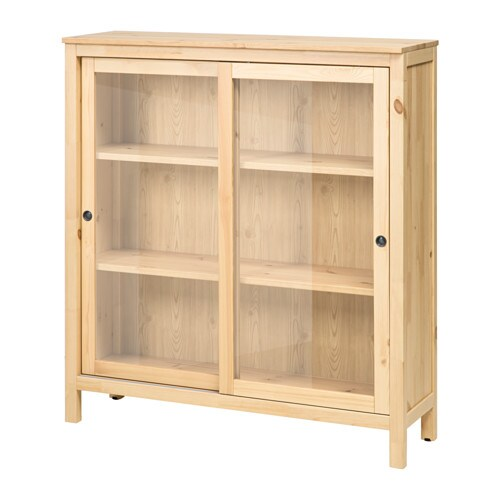 HEMNES Glass-door cabinet - light brown - IKEA