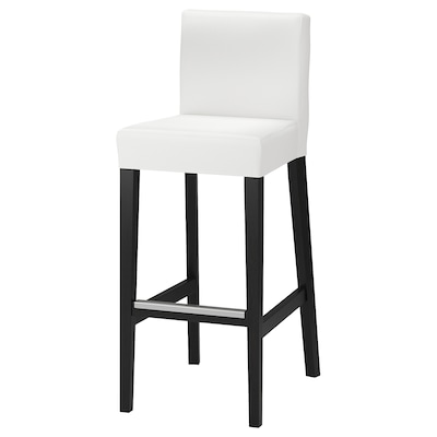 HENRIKSDAL Bar stool with backrest, brown-black/Gräsbo white, 74 cm