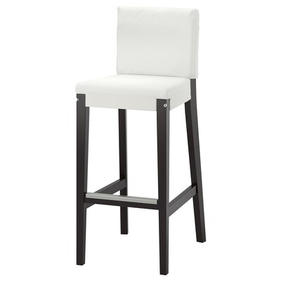 HENRIKSDAL Bar stool with backrest frame, dark brown, 74 cm