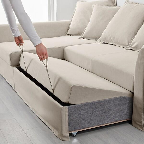 HOLMSUND Corner sofa-bed, Nordvalla beige