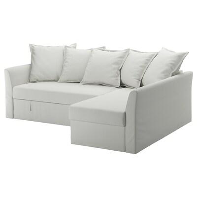 HOLMSUND Corner sofa-bed, Orrsta light white-grey