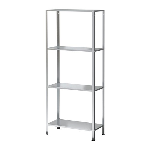 HYLLIS Shelving unit   The included plastic feet protect the floor against scratching.