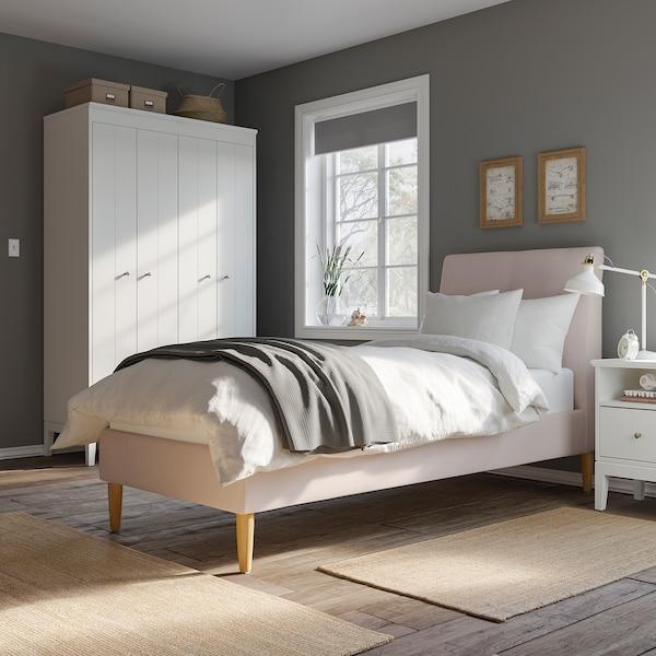 IDANÄS هيكل سرير بتنجيد, Gunnared وردي فاتح, 90x200 سم