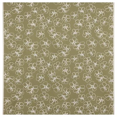 IDASARA Fabric, green natural/flower, 150 cm