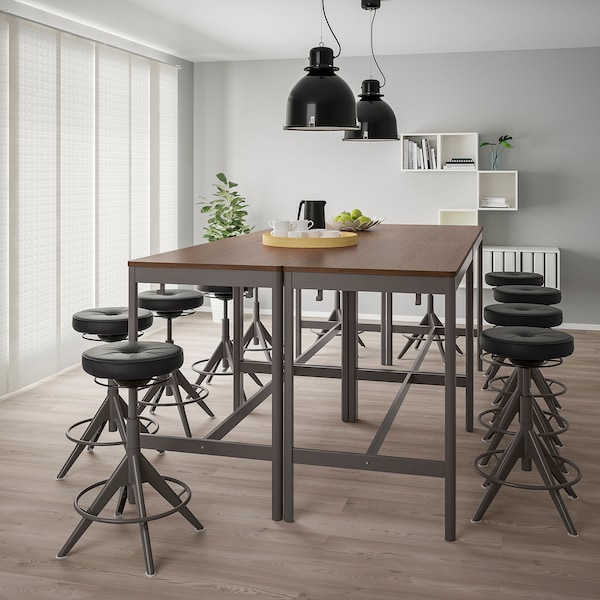 IDÅSEN طاولة, بني/رمادي غامق, 140x70x105 سم