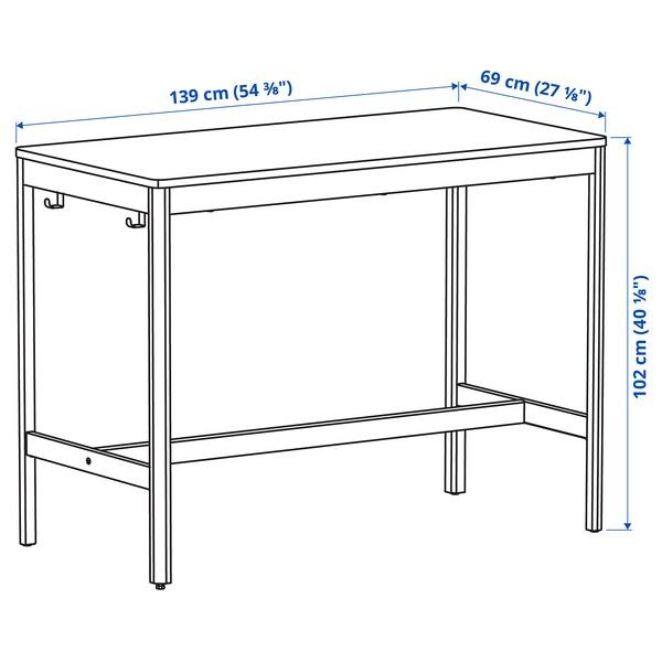 IDÅSEN Underframe for table top, dark grey, 139x69x72 cm