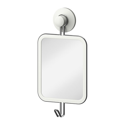 IMMELN Mirror with hook   With a suction cup that grips smooth surfaces.  Made of zinc-plated steel which is durable and rust resistant.