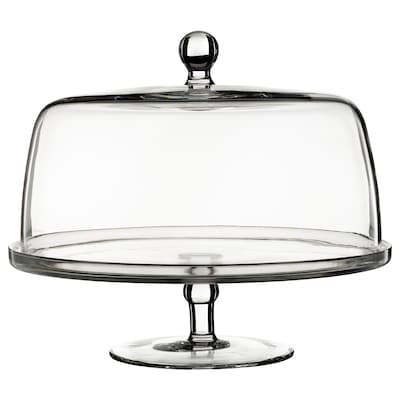 INBJUDEN Serving stand with lid, clear glass, 29 cm