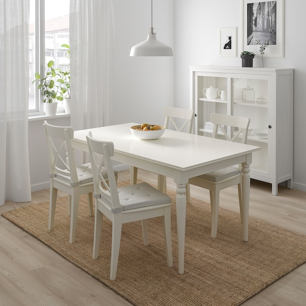 INGATORP / INGOLF table and 4 chairs white 155 cm 215 cm 87 cm 74 cm